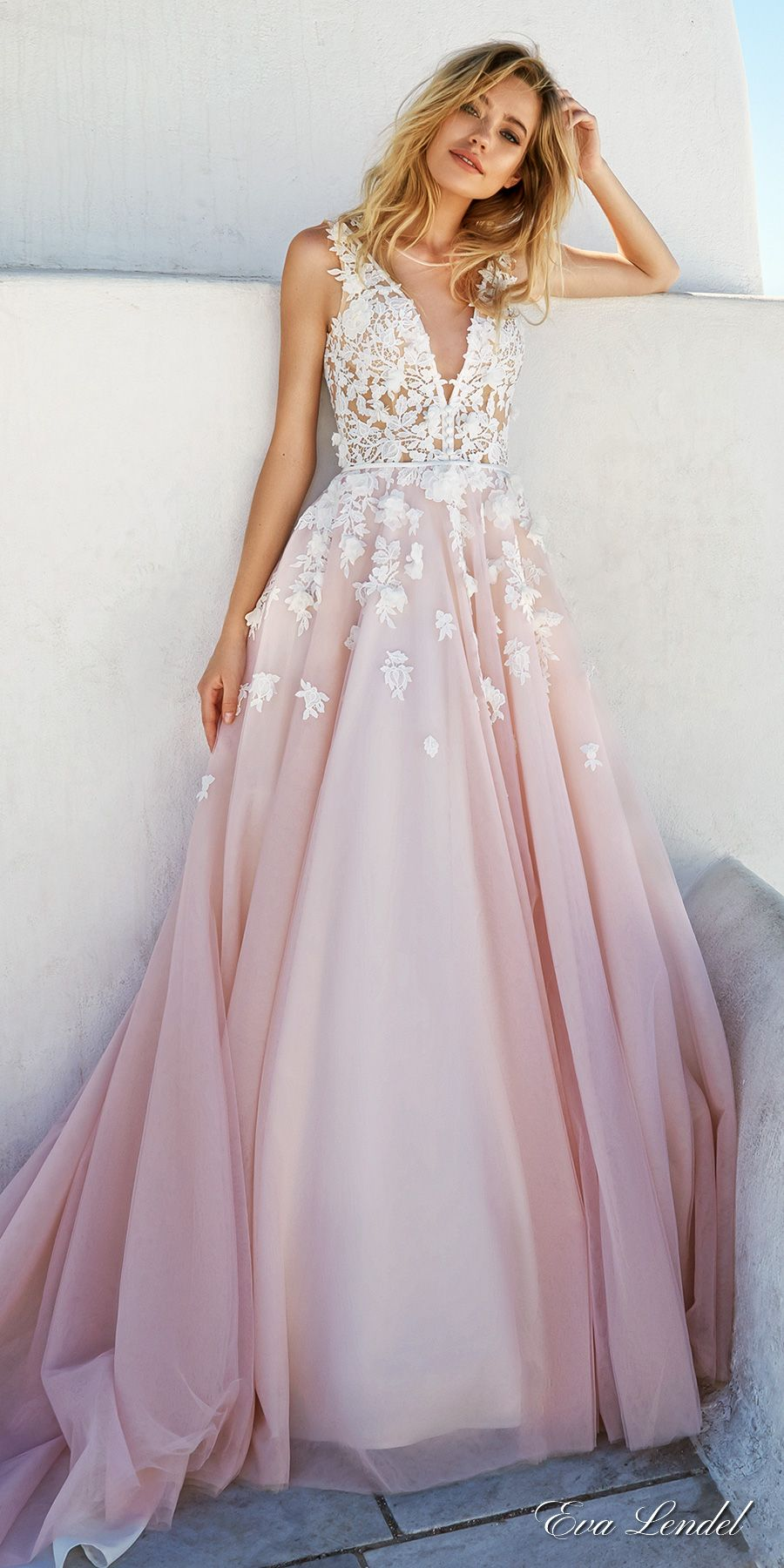 Vestido Para Festa De Noivado Eva Lendel 2017 Bridal Sleeves Deep V Neck Heavily Embellished Bodice Pretty Pink Color A Line Wedding Dress Keyhole