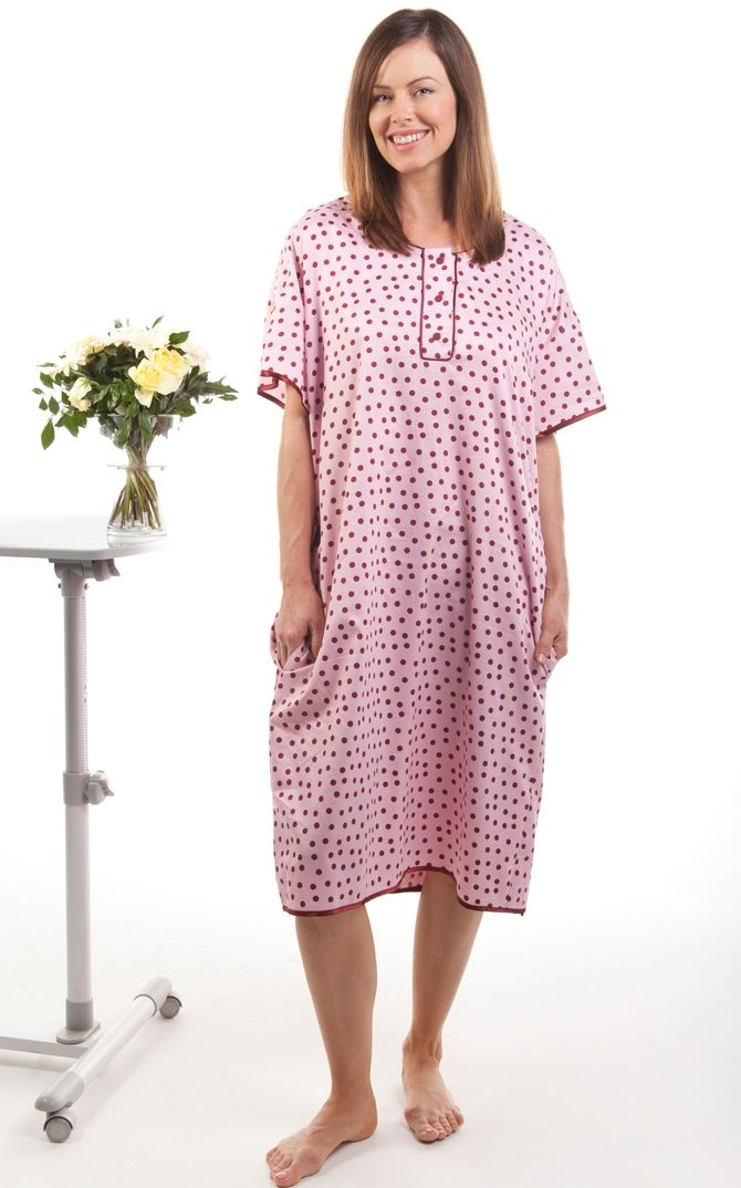 Our Polka Dots pattern hospital gown is a pretty pink pattern ...