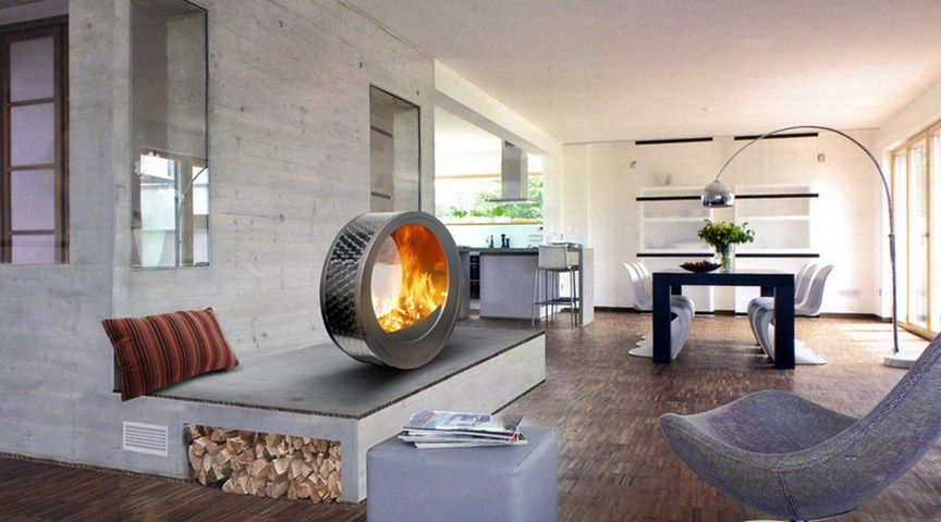 Modern Living Room With Free Standing Metal Round Gas Fireplace