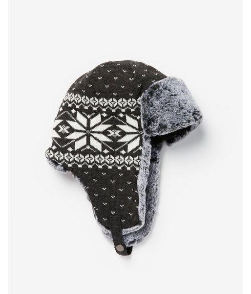 d6f68e1868be5f Gray Fair Isle Trapper Hat Gray Men's L/XL | Products | Trapper hats ...