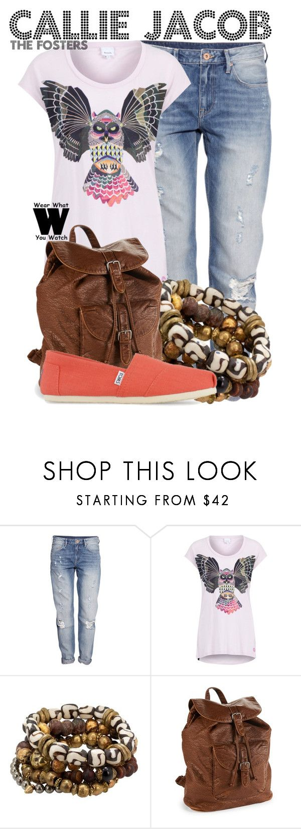 """The Fosters"" by wearwhatyouwatch ❤ liked on Polyvore featuring H&M, Bench, Lacey Ryan, Aéropostale, TOMS, television and wearwhatyouwatch"