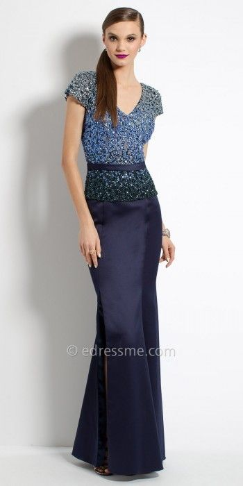 Camille La Vie Ombre Beaded Crepe Evening Dress