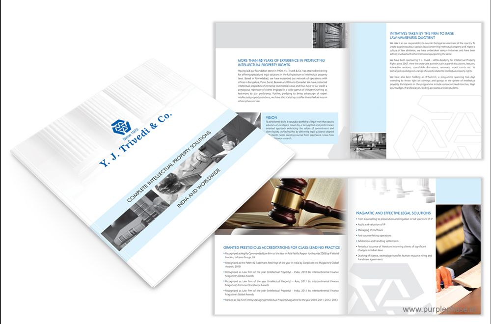 Corporate Brochure Design For IP Law Firm YJ Trivedi  Co By