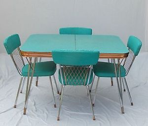 Vintage 1950s formica chrome copper trim table w 2 - Vintage formica kitchen table and chairs ...