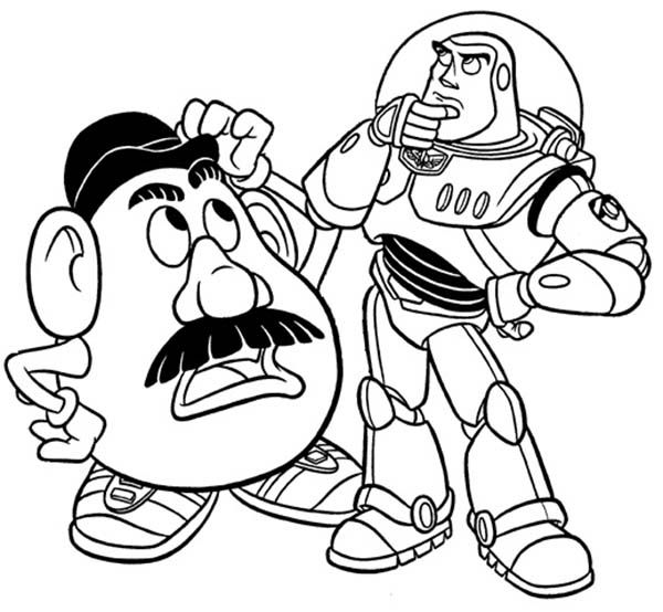 Toy Story, Mr Potato Head and Buzz in Toy Story Coloring Page: Mr ...