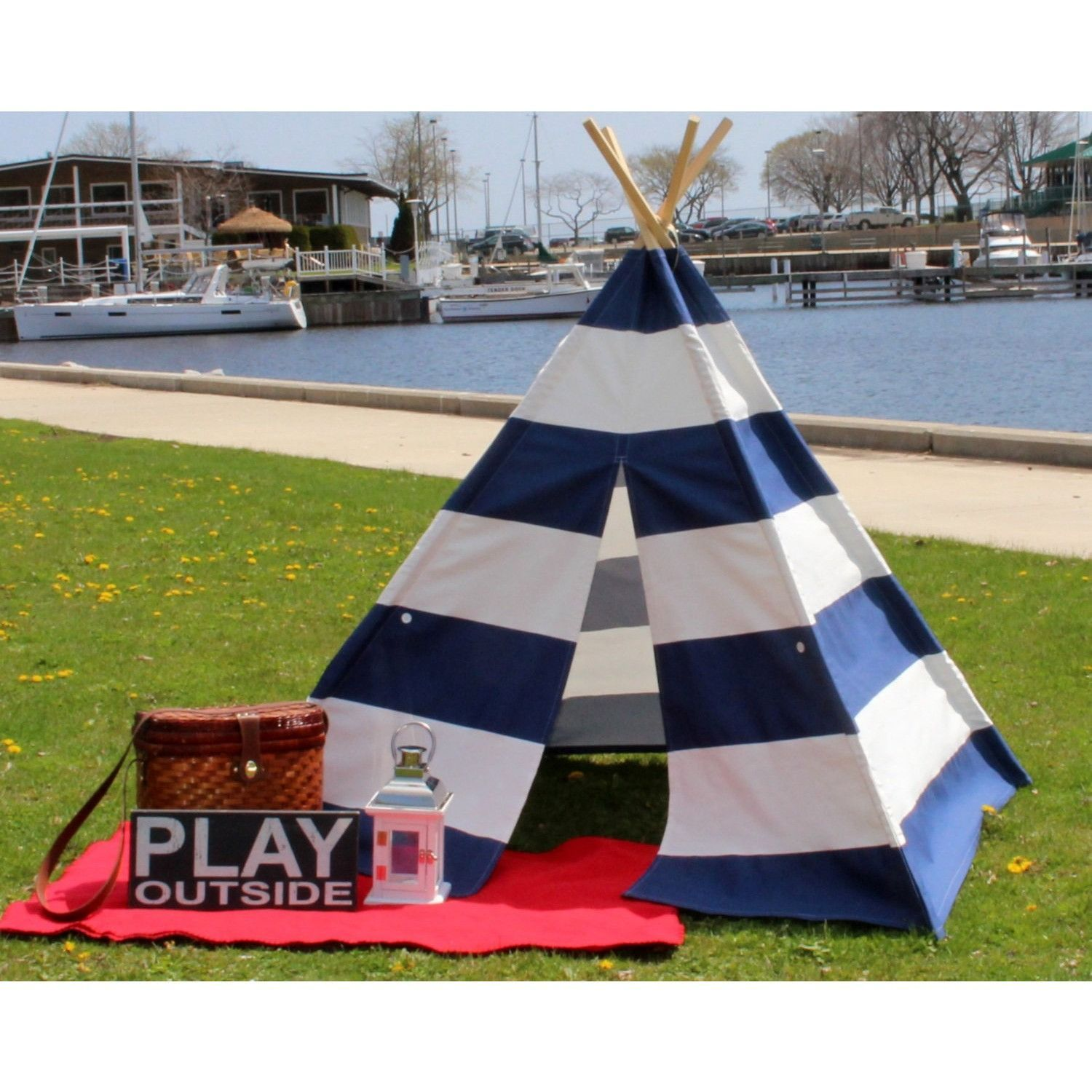 Kids Teepee Navy and White Extra Wide Stripe Nautical Style  sc 1 st  Pinterest & Kids Teepee Navy and White Extra Wide Stripe Nautical Style ...