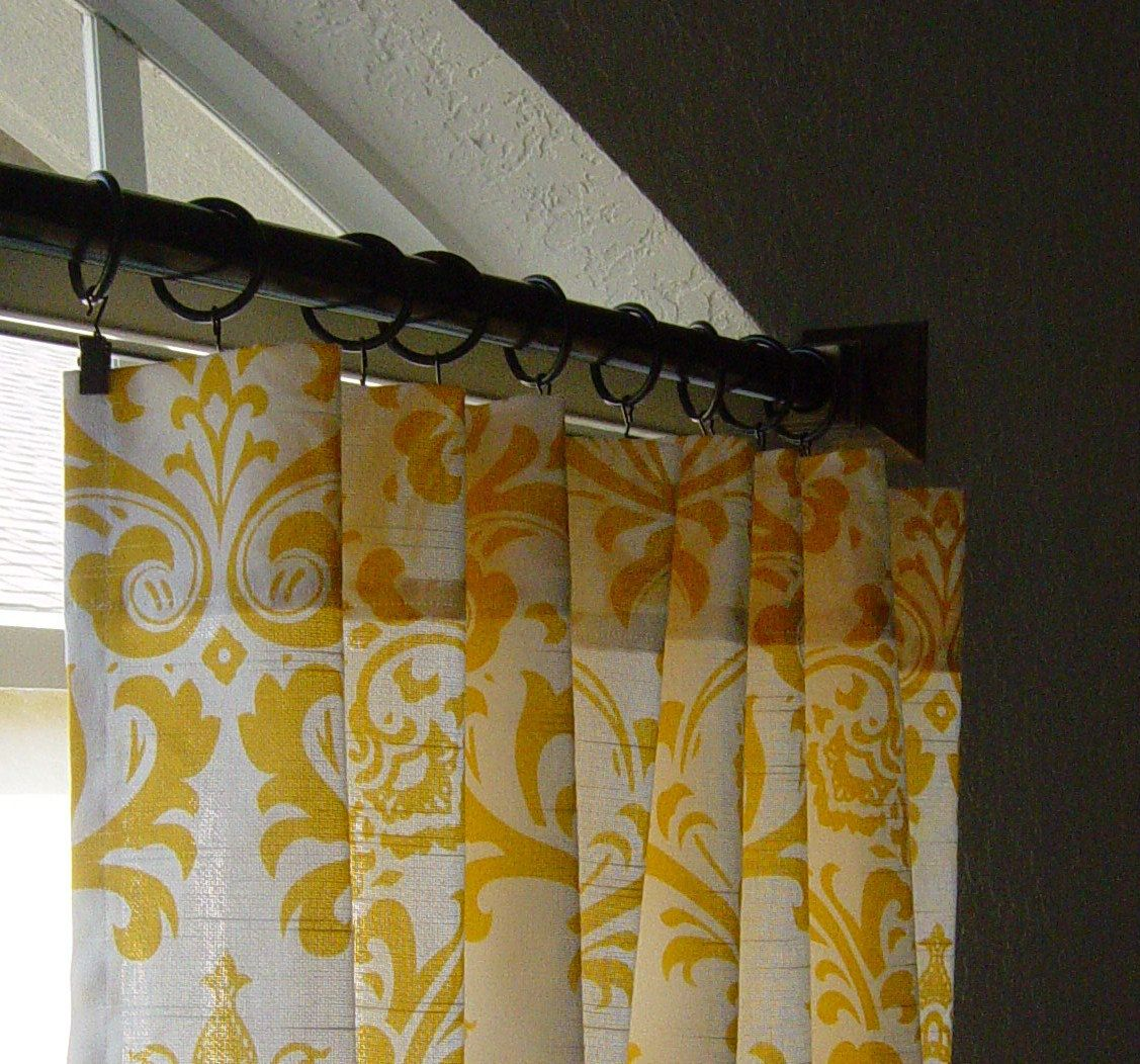 Damask Curtains Custom Drapes Panels Yellow And White Pair Of 50 X 108 Traditions 13500 Via Etsy