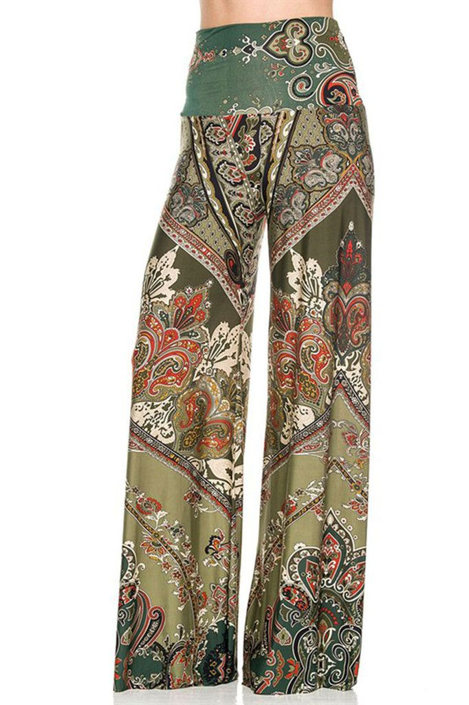 62fe789e359 Unique Printed Palazzo Pants - Banded High Waist or Fold Over - Fabric  92%  Polyester
