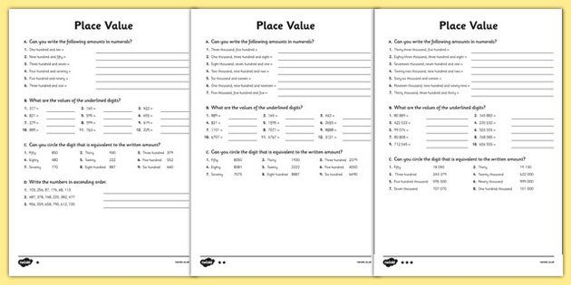 Place Value Worksheet (Differentiated)   School ideas   Pinterest ...