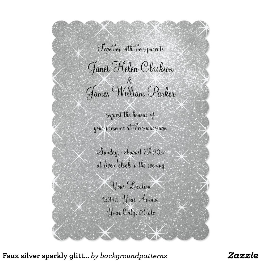 Faux silver sparkly glitter wedding invitations Faux silver sparkly ...