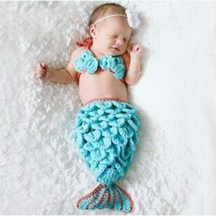 There handmade piece mermaid scales infant foot piece package