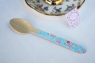 Tea party shabby chic cutlery. Hand-punched lace edge on wooden spoon. By Bespoke Party Products