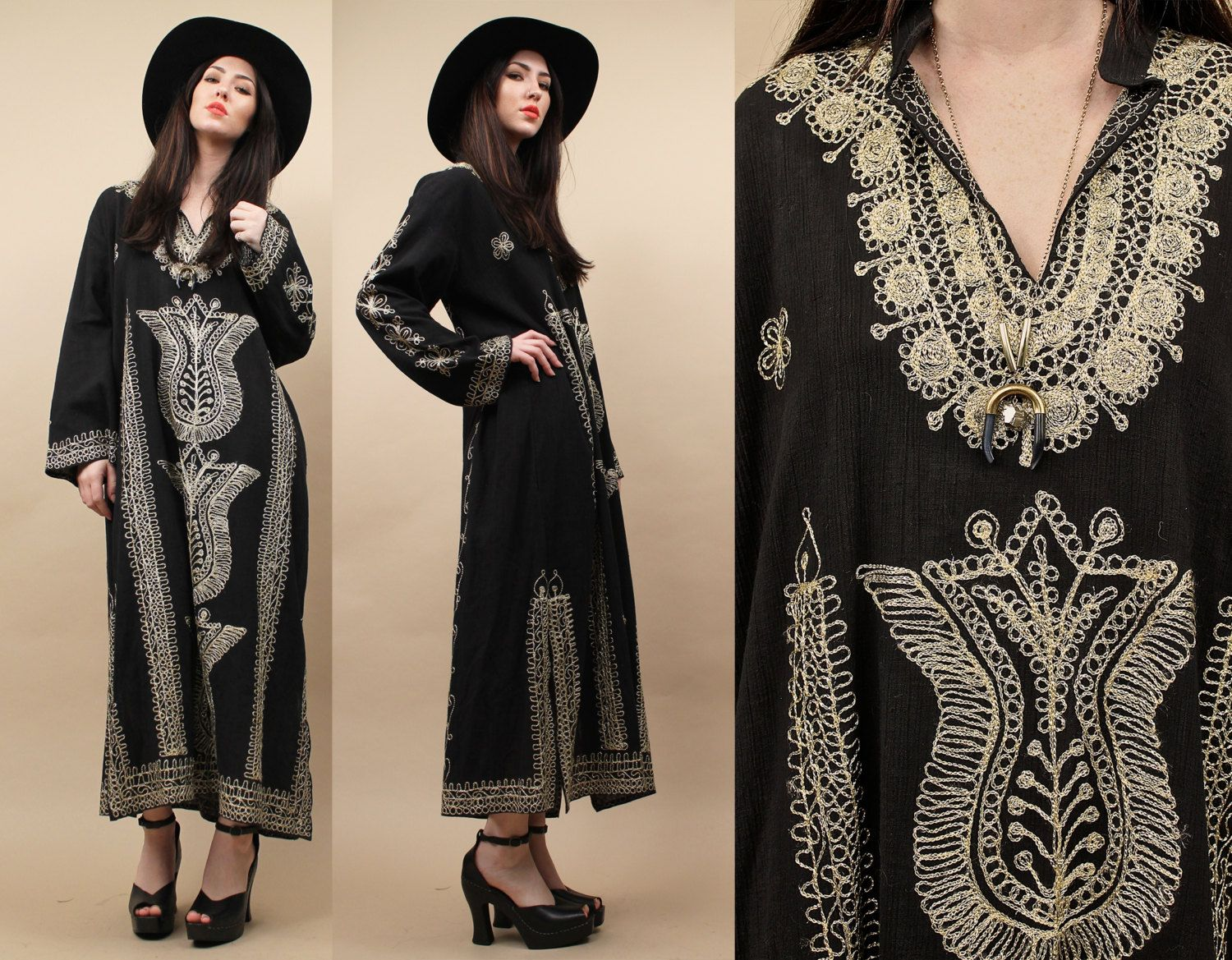 70s Vtg METALLiC Embroidered GAUZE Kaftan Maxi Dress / ETHNiC Intricate Design / Boho Festival Cotton Summer Hostess  / One Size by nanometer on Etsy https://www.etsy.com/listing/226591469/70s-vtg-metallic-embroidered-gauze