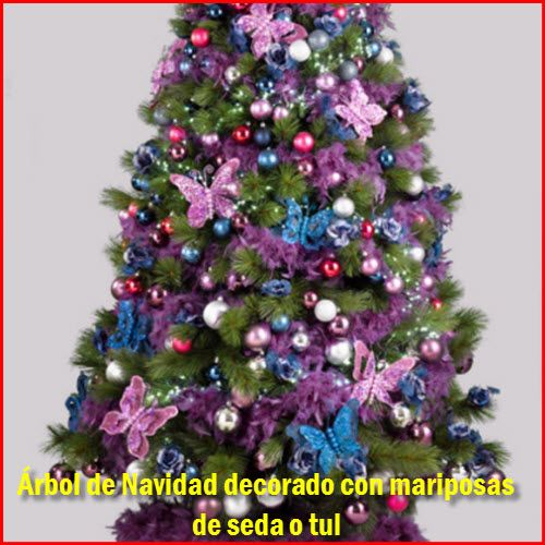 Rbol de navidad decorado con mariposas de tul o de seda - Como decorar mi arbol de navidad blanco ...