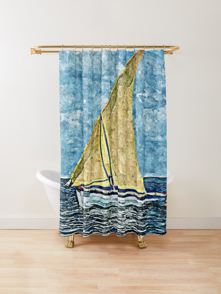 Yellow Sail Sailboat Sailing Painting / #sailboats #sailing #seascape #digitalart #digitalpainting #painting #art #homedecor #printsforsale #wallart #waldecor #artprints #findyourthing • Millions of unique designs by independent artists. Find your thing.