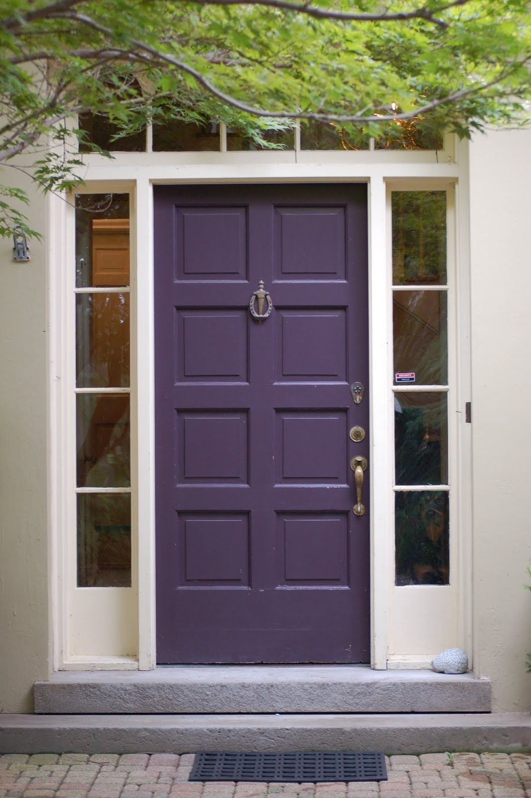 Dark Red Front Door benjamin moore, regal select exterior, soft gloss, dark purple