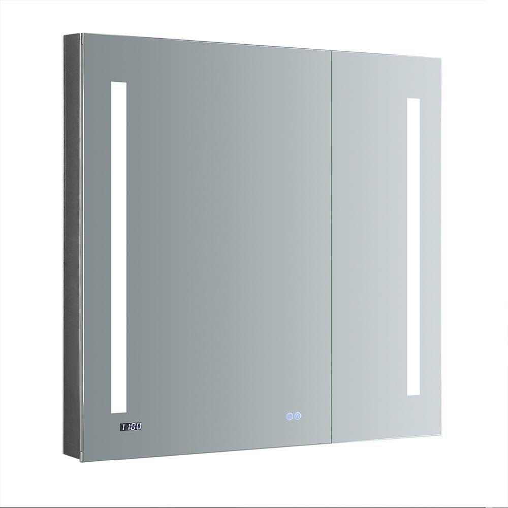 Fresca Tiempo 36 In W X 36 In H Recessed Or Surface Mount Medicine Cabinet With Led Lighting And Mirror Defogger Fmc013636 The Home Depot In 2021 Surface Mount Medicine Cabinet