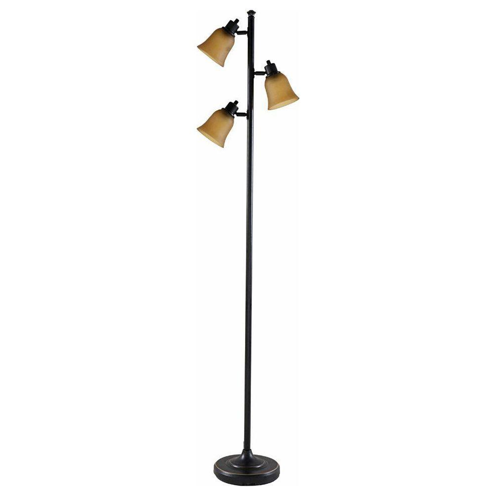 Hampton Bay 70 In Antique Bronze Track Tree Floor Lamp With 3 Amber Glass Shades Hd13651frbrzc The Home Depot Tree Floor Lamp Floor Lamp Glass Floor Lamp