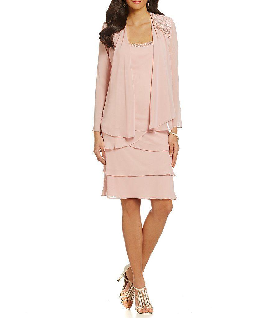 Ignite Evenings Lace-Shoulder Chiffon Jacket Dress | Pinterest