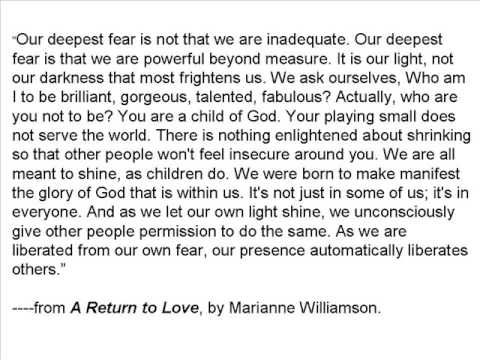 Our Deepest Fear From A Return To Love By Marianne Williamson Extraordinary A Return To Love Quotes