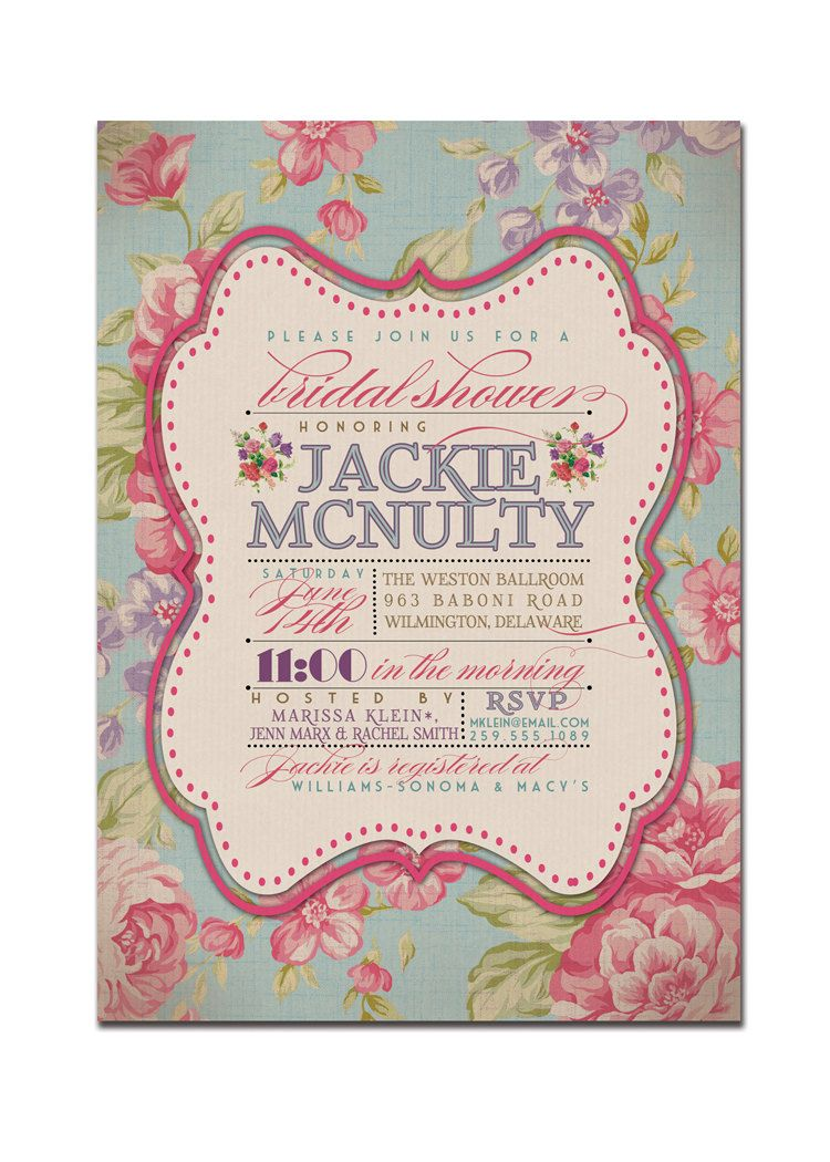 Kitchen Tea Bridal Shower Invitation Rustic Wedding Invitation