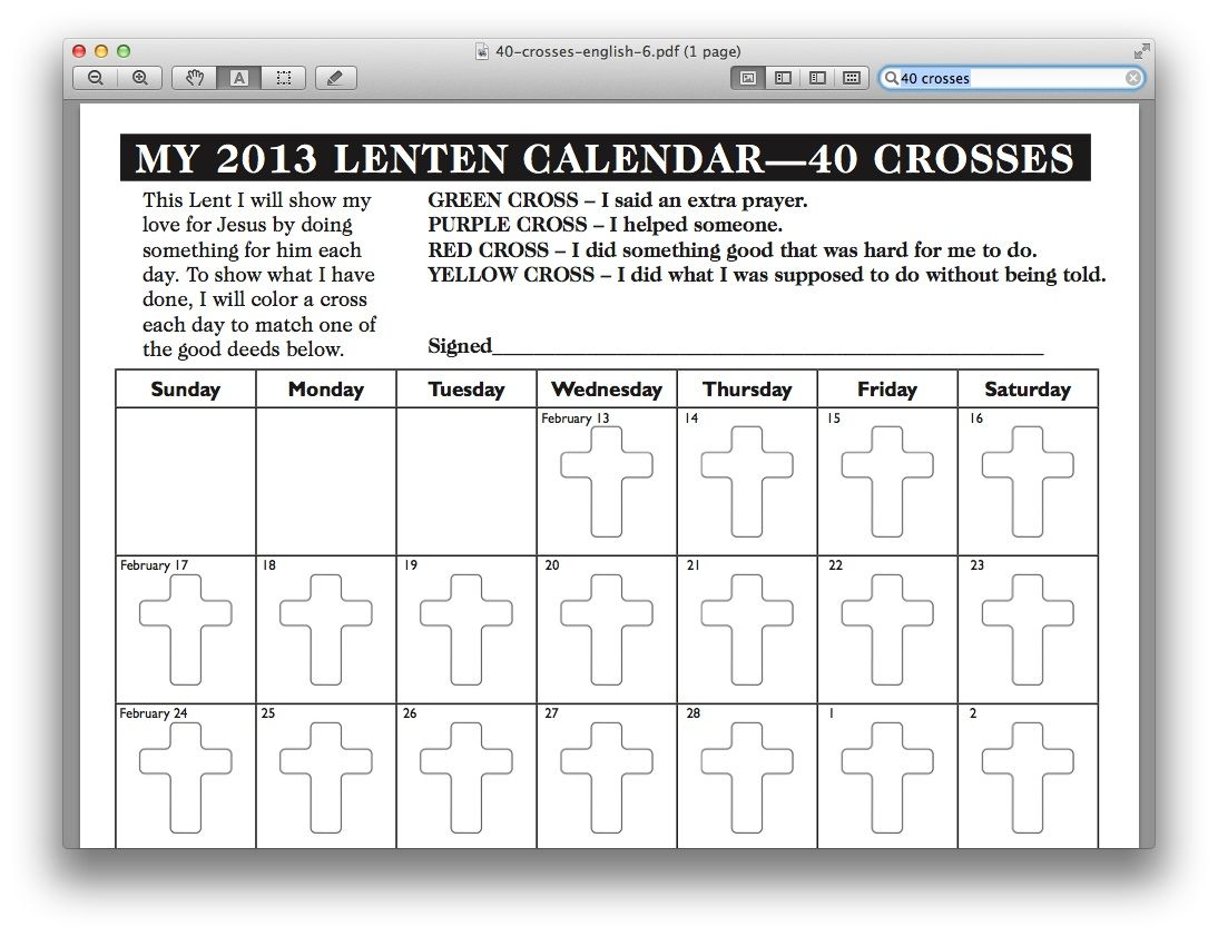 A Cross To Color For Each Day Of Lent
