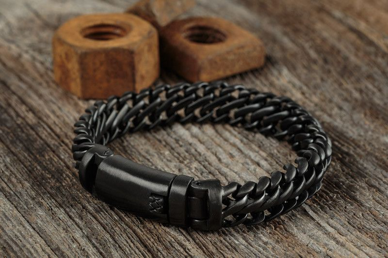 "Taking its name for the ancient word for ""armour,"" the Maile is designed to resemble the protective chainmail worn by European warriors throughout history. This thick stainless steel bracelet is weigh"