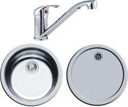 pyramis round kitchen sink, drainer & tap with wastes. 450mm ...
