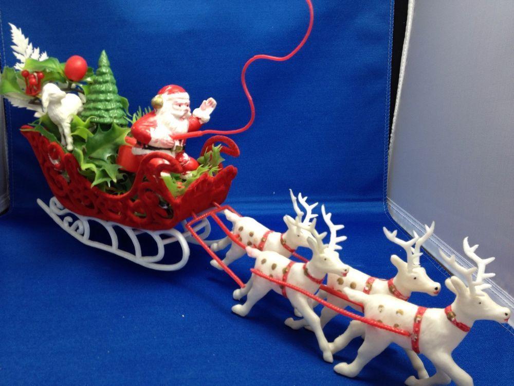Vintage Plastic Santa Claus Flocked Sleigh Reindeer Lamb Tree Present Christmas Vintage Christmas Ornaments Christmas Lamb Vintage Christmas