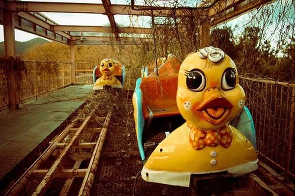 The Crumbling Chaos of Abandoned Amusement Parks: Okpo Land, Okpo-Dong, South Korea (closed in 1999). The duck-themed rollercoaster killed a child in the late 1990s and another in 1999. Nobody of the park's leaders have apologized or said anything. The park was left in ruin in 1999 and demolished in the Fall of 2011.