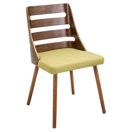 Trevi Mid Century Modern - Walnut Wood Chairs/Green Fabric - LumiSource : Target