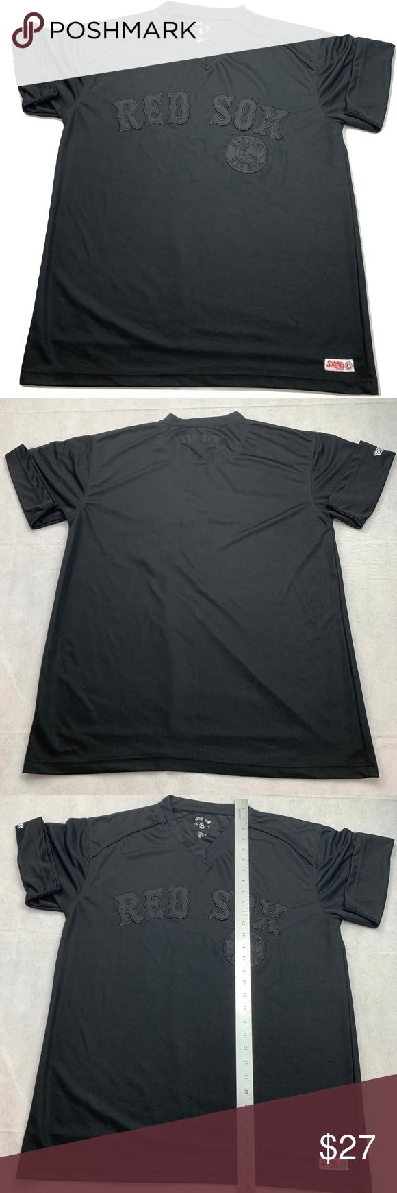 Stitches Boston Red Sox Black V Neck Jersey Shirt Stitches Athletic
