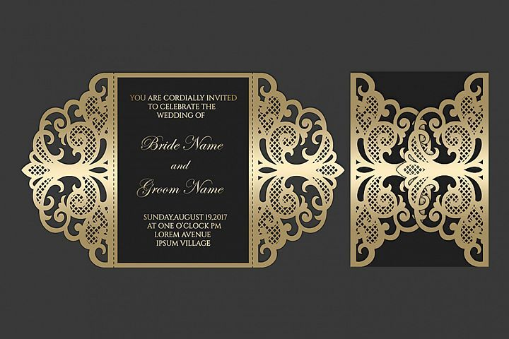 Gate fold wedding invitation , 5x7, SVG Cricut Template ...