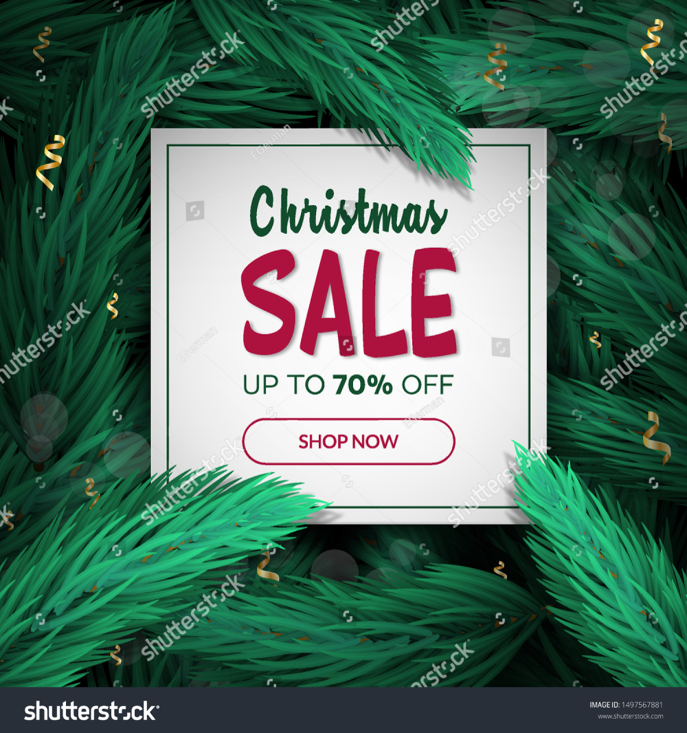 Christmas Discount Card With Christmas Tree Branches Background Christmas Tree Branches Discount Card Holiday Poster
