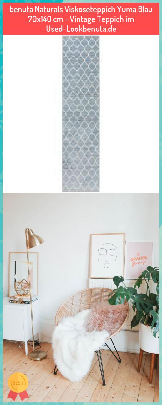 benuta Naturals Viskoseteppich Yuma Blau 70x140 cm - Vintage Teppich im Used-Lookbenuta.de #benuta #Naturals #Viskoseteppich #Yuma #Blau #70x140 #Vintage #Teppich #Used-Lookbenuta.de