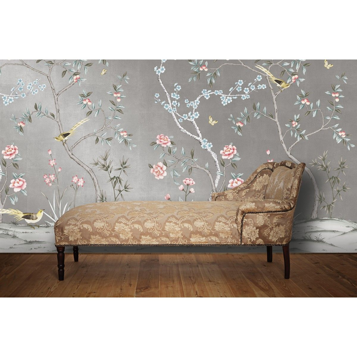 CHINOISERIE Garden Metallic Silver Chinoiserie wallpaper