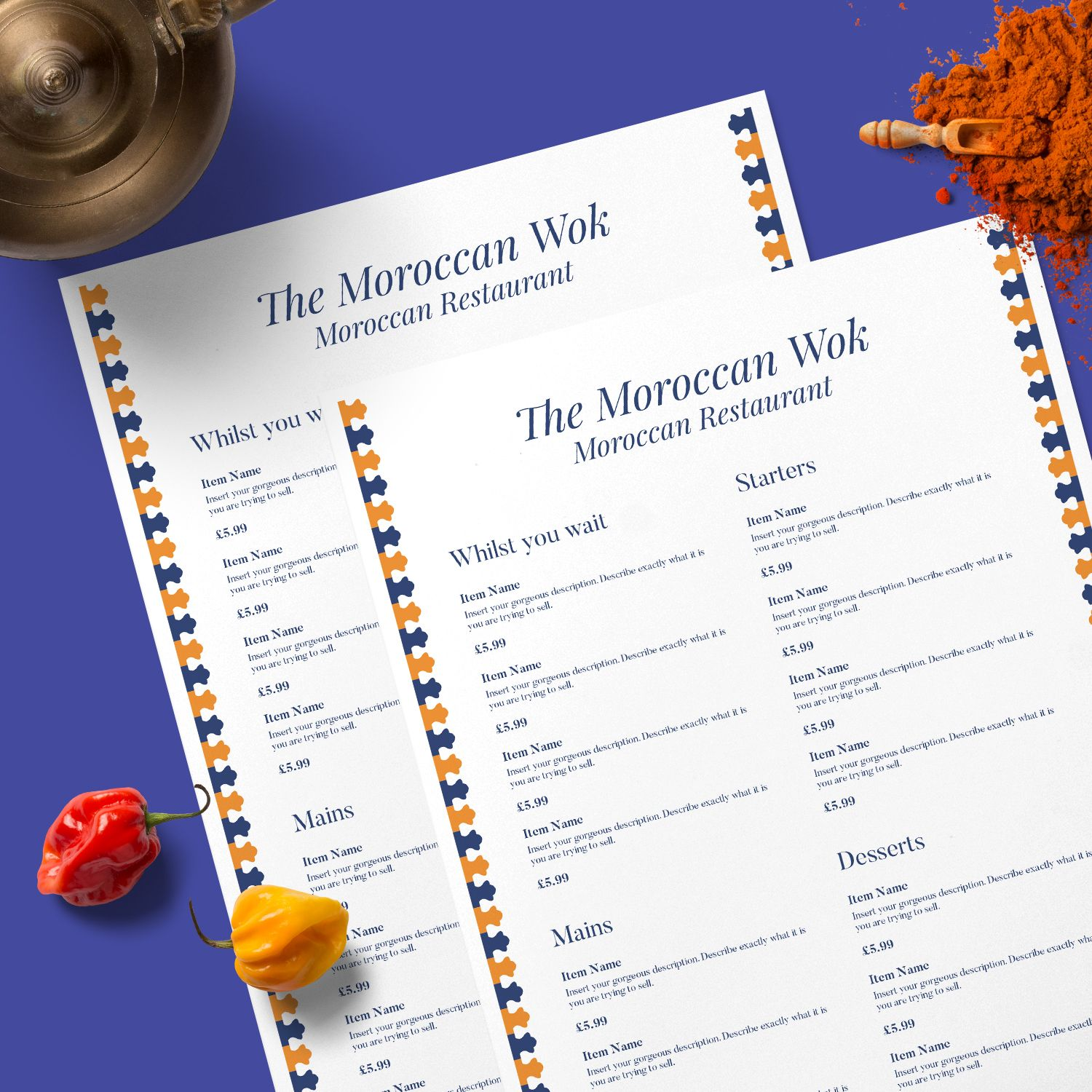 The Moroccan Wok A Clean Minimal And Modern Menu For Any
