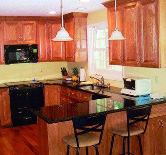 Custom Made Cherry Wood Kitchen With Black Granite ...
