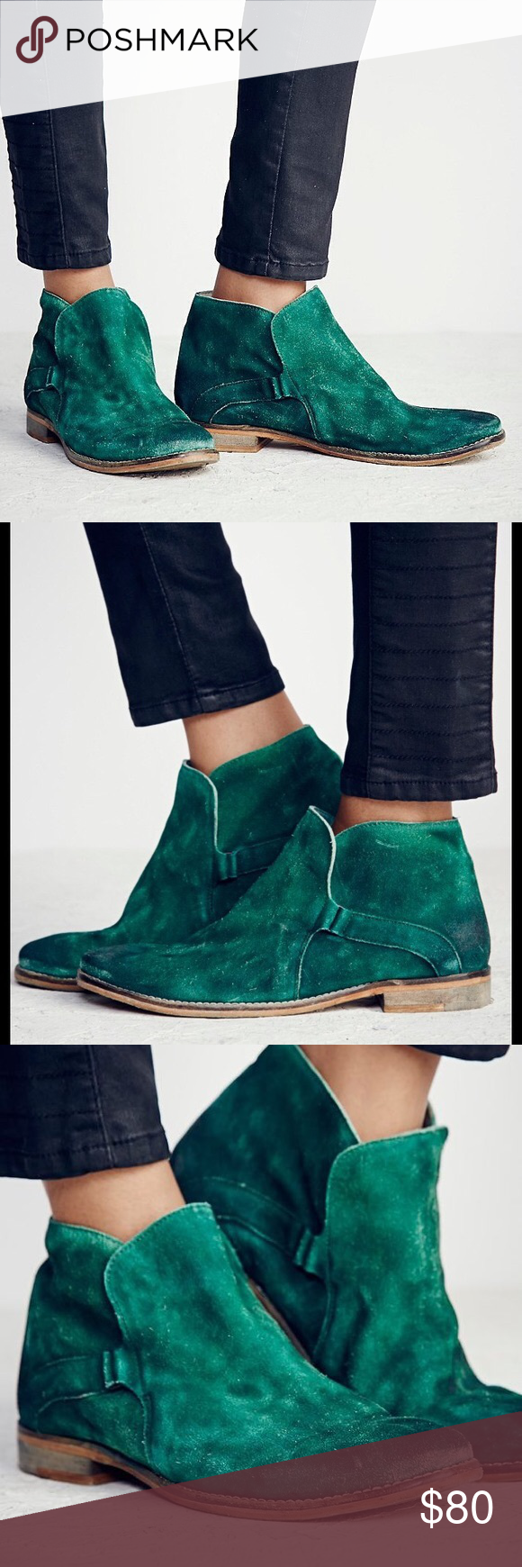 Free People Summit Ankle Boot Green Leather 38 8 EUC worn 2x.  Sold out everywhere. Vintage inspired distressed suede ankle boots, that have been individually hand washed to achieve a worn-in look and feel. Easy slip-on surplice design with hidden elastic gusset. Each pair will vary due to the hand washing technique used. This vintage-inspired style has been handcrafted to reflect the look of an aged wear. The scuffing, marking and washed effects give this shoe its own unique…
