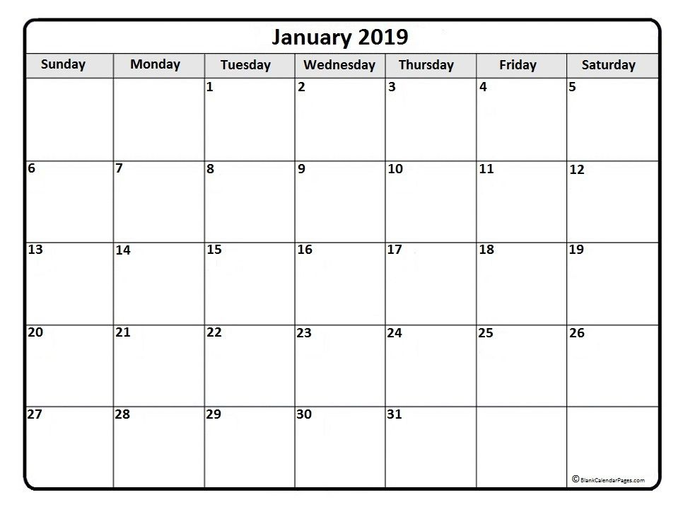 January Calendar Printable January  Monthly Calendar