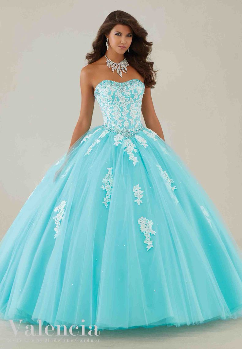 Quinceanera dresses blue and white ombre hair