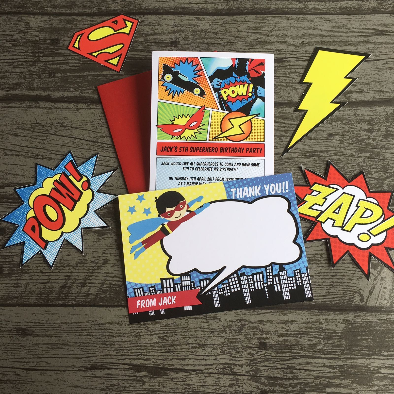 Superhero Themed Children\'s Birthday Party Invitations / Invites ...