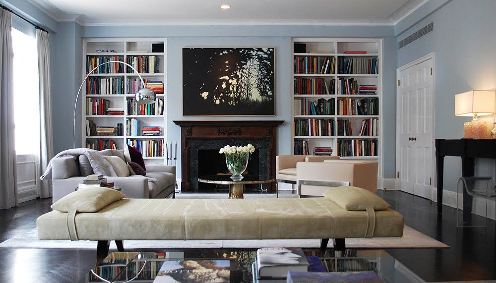 Modern Living Room Bookshelves Design Ideas With Long White Chair And Fireplace Amazing Library Interior