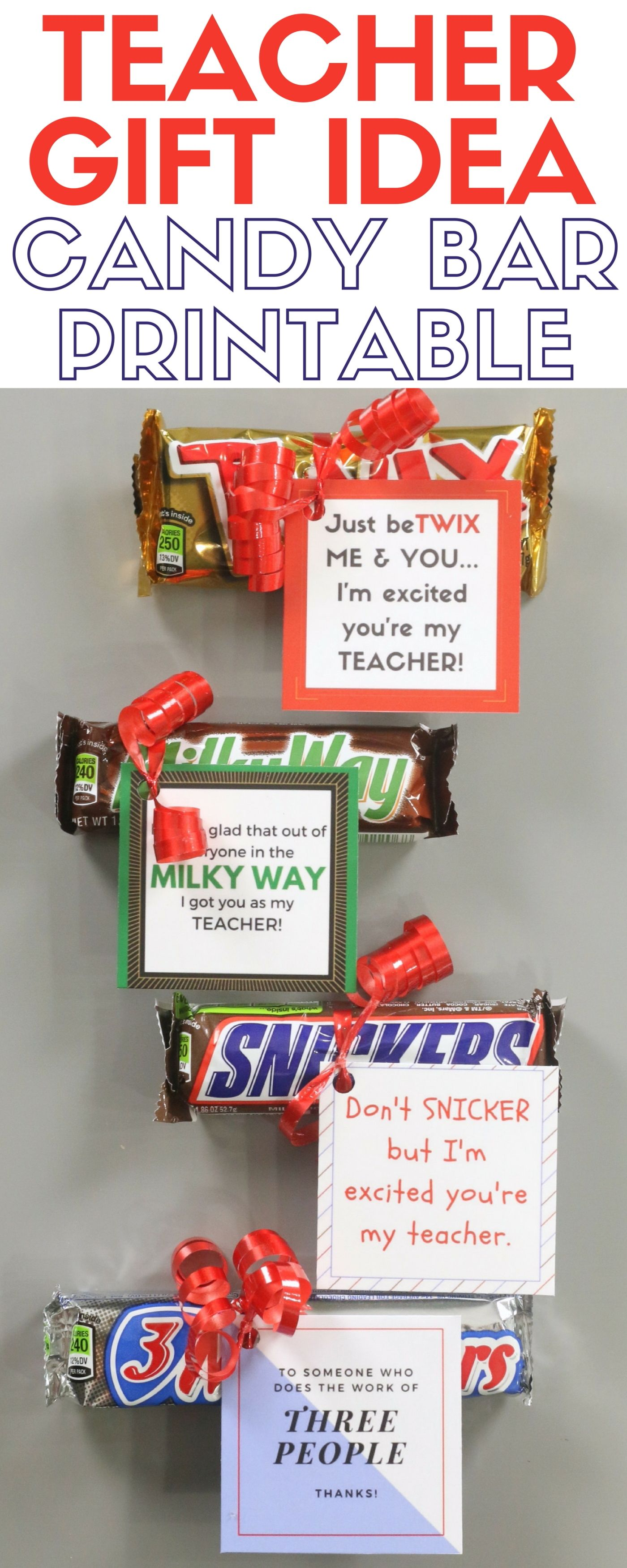 How to make a candy bar printable teacher gift idea for Simple gifts to make