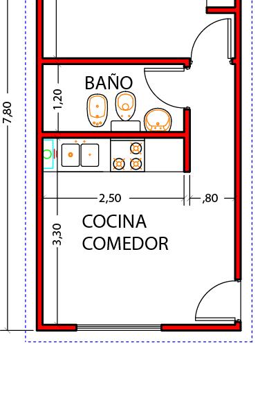 Vivienda 1d 32m2 construcci n pinterest casas for Planos de viviendas de 2 dormitorios