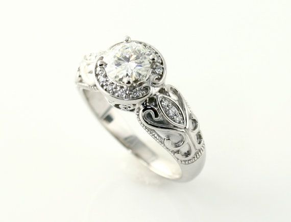 14k vintage moissanite engagement ring halo by