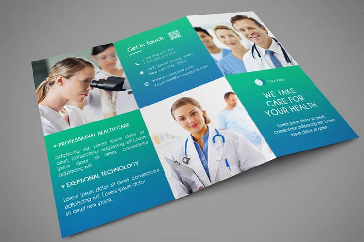 medical trifold template psd suitable for medical centers dental