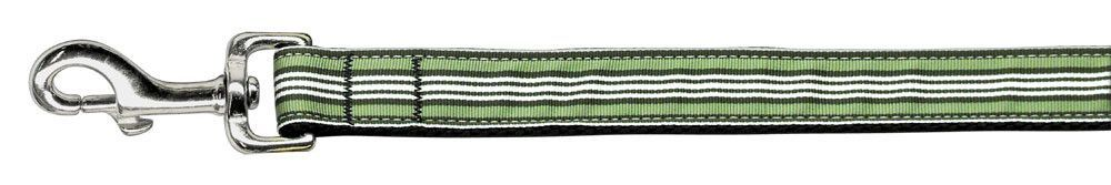 Preppy Stripes Nylon Ribbon Collars Green/White 1 wide 4ft Lsh