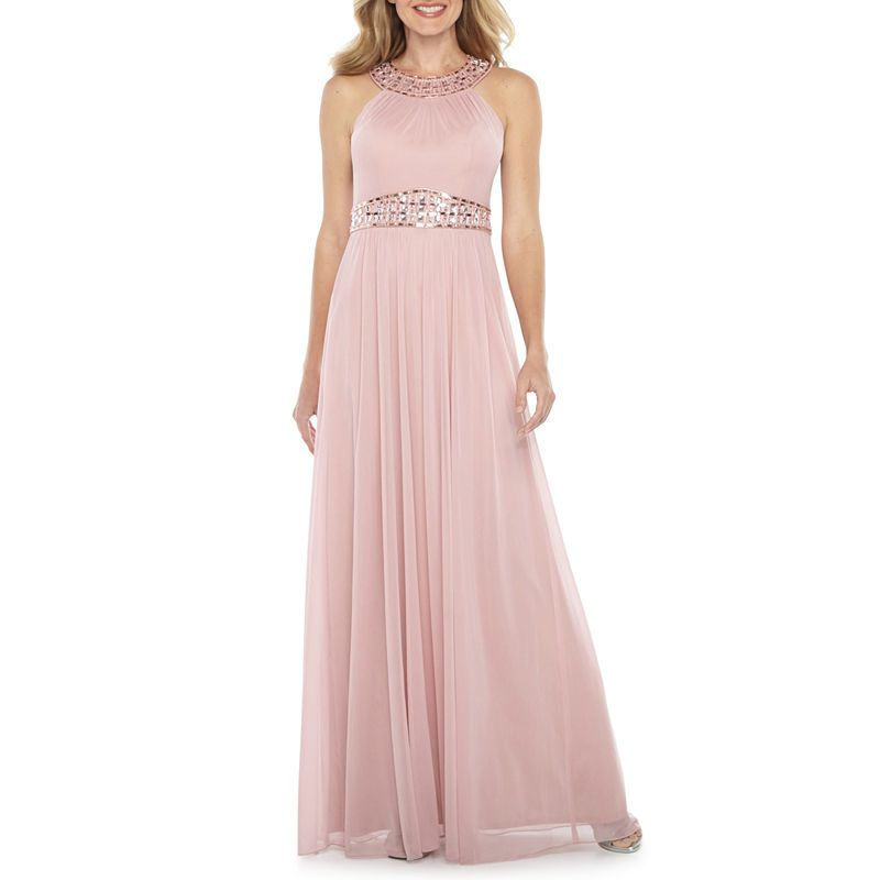 91f3caf01e One By Eight Sleeveless Beaded Halter Evening Gown