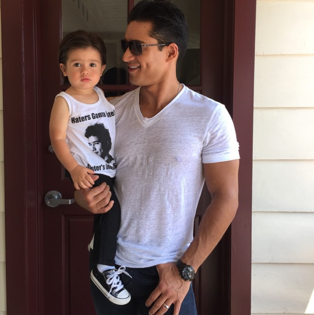 Mario Lopez also treated fans to a photo of his nearly two-year-old son Dominic sporting a tee-shirt featuring Mario's character, A.C. Slater. See more Saved by the Bell babies here.